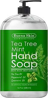 Tea Tree Mint Hand Soap - Liquid Hand Soap with Spearmint, Jojoba and Olive Oil - Multipurpose Liquid Soap in Pump Dispens...