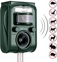 Wikomo Ultrasonic Animal Repeller, Solar Powered Waterproof Outdoor with Ultrasonic Sound, Motion PIR Sensor and Flashing Light for Cats, Dogs, Squirrels, Raccoons, Rats