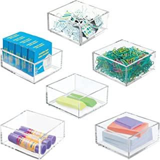 mDesign rangement bureau– boite de rangement pratique pour les trombones, les blocs-notes et autres – boite en plastique p...