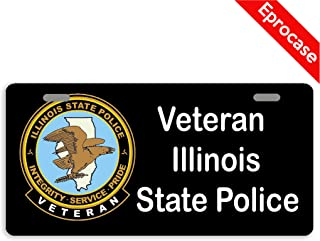 Eprocase License Plate Veteran Illinois State Police License Plate Cover Decorative Car Tag Sign Metal Auto Tag Novelty Front License Plate 2 Holes (11.8