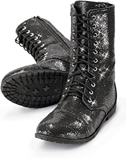 Boots Girls Shoes for Dance Womens Combat Boots with Glitter and Zipper Rubber Sole Shoes