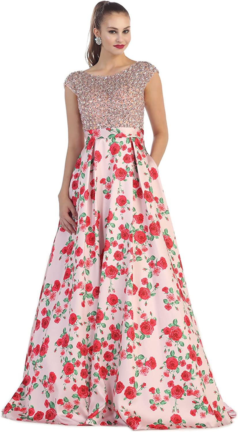 Royal Queen RQ7424 Floral Print Red Carpet Gown