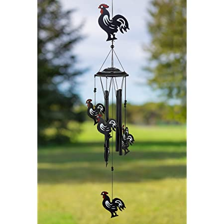 Amazon Com Ebros Gift Country Western Animal Farm Morning Sunshine Crowing Red Breasted Rooster Chicken Figurine Top Resonant Wind Chime For Garden Patio Rustic Farmland Cottage Themed Home Accent Garden