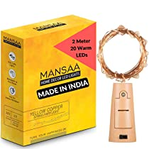 MANSAA® 2m 20 LED's Warm White Coin Cell Operated String Lights with Wine Bottle Cork (Pack of 1)