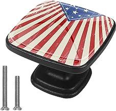 Keukenkast knoppen - Vintage Amerikaanse vlag - Knoppen voor dressoir laden voor kast, kast, badkamer of kantoor - Pack van 4