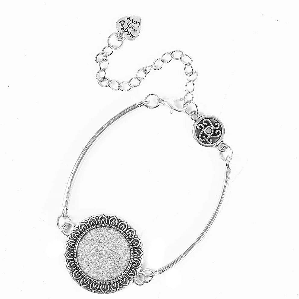 Monrocco 5Pcs Cabochon Bangle Bracelet Base with Made with Love Pendant Adjustable Chain Bracelet Setting 20mm Round Blank Bezel Tray DIY Bracelets Making Accessories