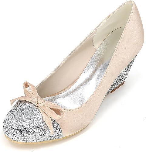 Elobaby zapatos De Boda De Las mujeres EstáNdar Cerrado Toe otoño plataforma Glitter Grueso QD-26 Moderno 6.5cm TacóN