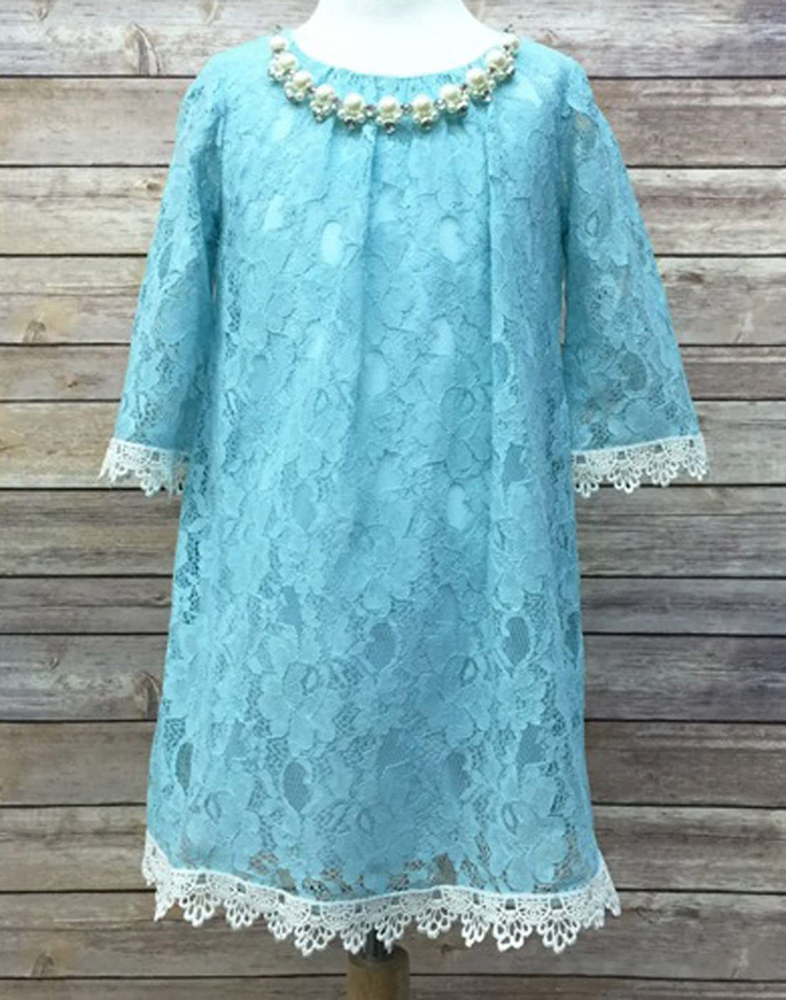 Yaya Fairies Efavormart Flower Girl Dress Floral Lace Dress with a Pearl Necklace Wedding Party Dress
