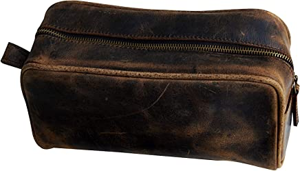 Men's Buffalo Genuine Leather Toiletry Bag Waterproof Dopp Kit Shaving Bags And Grooming For Travel Groomsmen Gift Men Women Hanging Zippered Makeup Bathroom Cosmetic Pouch Case Make Up kit