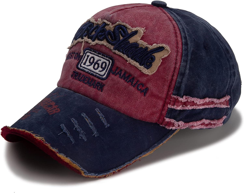 Unisex Vintage Washed Distressed Baseball Cap- Adjustable Sports Fashion Cowboy Stitching Dad Hat