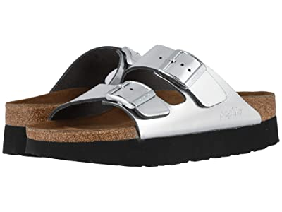 Birkenstock Arizona Platform by Papillio (Metallic Silver Leather) Women