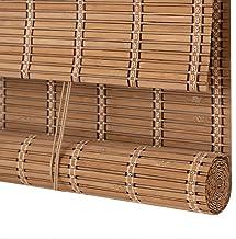 Zonwerend verduisteringsrolgordijn, bamboe ring bovengordijn, zonnescherm, frisse luiken voor binnen, aanpasbaar, ophange...