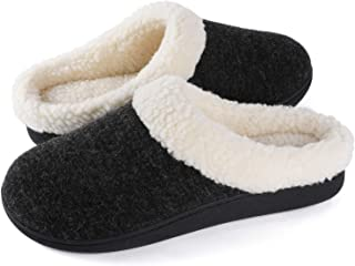 Wishcotton Ladies' Cozy Memory Foam Slippers, Womens Fuzzy Wool-Like Plush Fleece Lined House Shoes Indoor, Outdoor Anti-S...
