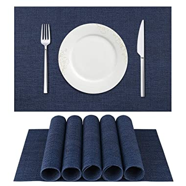DACHUI Placemats, Crossweave Woven Vinyl Non-Slip Insulation Placemat Washable Table Mats Set of 6 (Dark Blue)