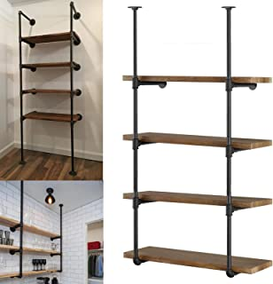 Yuanshikj 2Pc (56 tall 12deep 3/4) Industrial Wall Mount iron Pipe Shelf Shelves Shelving Bracket Vintage Retro Black Open Bookshelf Bookcase DIY Storage office Kitchen (2 Pcs 4Tier Hardware only )