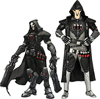 Overwatch Reaper Cosplay Costume, Officially Licensed, Halloween Gabriel Reyes Battle Suit PU Leather Game Anime Outfits