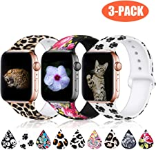 Haveda Floral Bands Compatible with Apple Watch Band 38mm 40mm, Soft Pattern Printed Silicone Sport Replacement Wristbands for Women Men Kids with iWatch Series 4 Series 3/2/1, M/L, 3 Pack