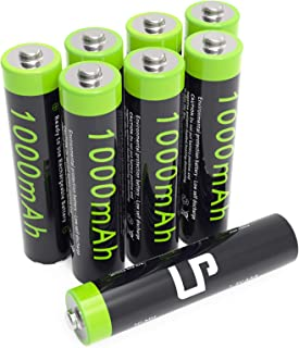 LP AAA Ni-MH Rechargeable Battery Pack, 8-Pack Triple-A Batteries with 1000mAh High Capacity for Clocks, Remotes, Toys, Cameras, Flashlights & More