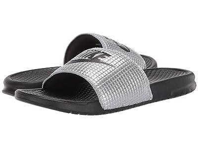 Nike Benassi JDI SE TXT 1 (Black/Black/Metallic Silver) Men