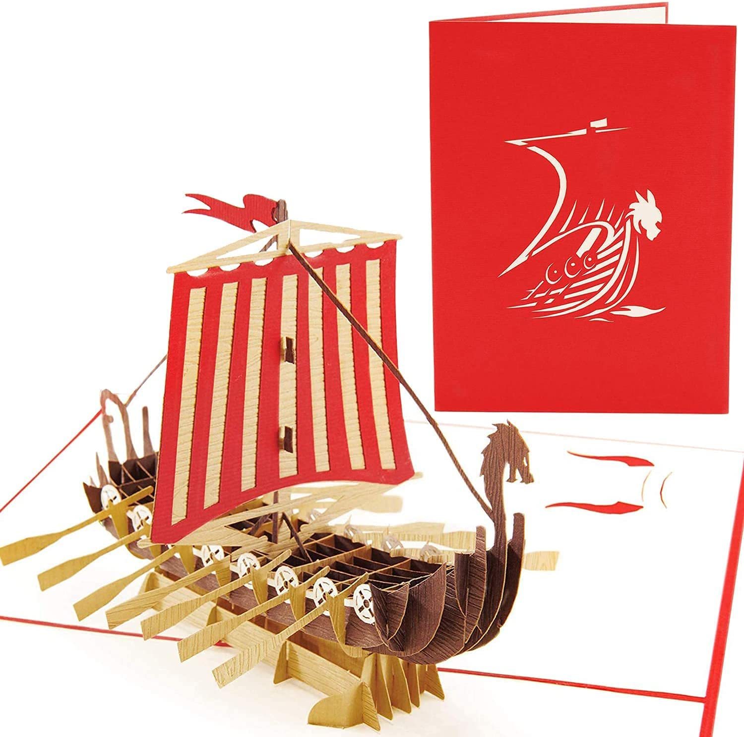 PopLife Cheap mail order specialty New life store Warrior Viking Ship 3D Pop Up All - for Occasions Card H