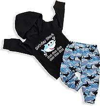 Baby Boy Girl Birthday Shark Doo Doo Doo Outfits Infant Boy Long Sleeve Hooded Tops Sweatshirt and Shark Pants Clothes Set