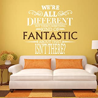 We're All Different - Fantastic Mr. Fox Wall Decal Quote - Vinyl Word Art (Small,Fantastic:brown,letters:white)