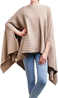 DELUXSEY Loose Mix Knit Pullover Poncho Cape Women Womens Pullovers Sweaters