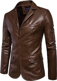 Mens Faux Leather Jacket Notched Lapel PU Jacket Men Two Button Blazer Jackets