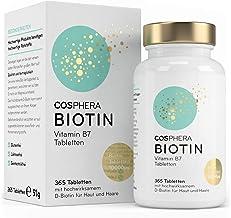 Biotin Tabletten - Hochdosiert mit 10.000 mcg D-Biotin pro Tablette - 365 vegane Tabletten im 1-Jahresvorrat - Vitamin B7 ...