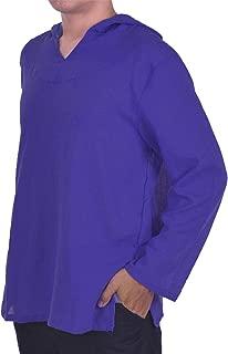 LOFBAZ Men's Hoodie Hippie Shirts Beach 100% Soft Cotton Top Yoga Shirt Boho