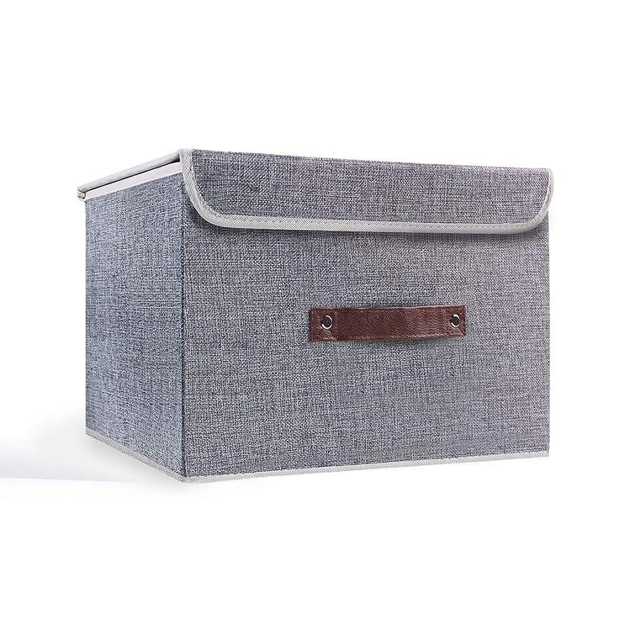 幻想請求可能用心深いVLE 収納ボックス 収納ケース ふた付き 折りたたみ 大容量 カラーボックス 整理箱 小物入れ おやつ 書類 衣類 クローゼット 幅38x奥行25x高さ25cm — グレー