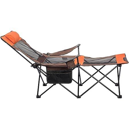 PC CHAIR Port/átil Camping Silla Plegable de Camping,Mochilero Reclinables Silla de Descanso con reposapi/és-A