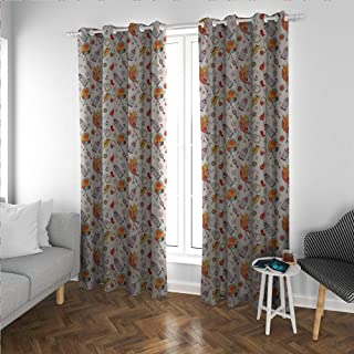 Birdcage Fabric Light Curtain Hand Drawn Style Cheerful Pattern Birds Snails and Accessories for Ba Girls Kitchen/Bedroom Window Treatments Home Decoration Multicolor