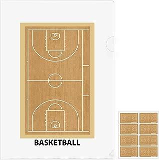 バスケットボールコート柄 クリアファイル5枚+シール5枚セット プライム