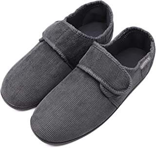 Men's Memory Foam Diabetic Slippers with Adjustable Closures, Extra Wide Width Comfy Warm Corduroy Arthritis Edema Swollen House Shoes Indoor/Outdoor