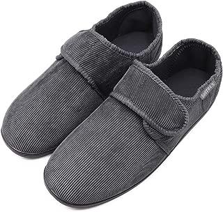 Mwfus Men's Wide Width Slippers with Memory Foam, Adjustable Corduroy House Shoes for Diabetic Arthritis Edema Swollen Feet Anti-Slip Indoor/Outdoor