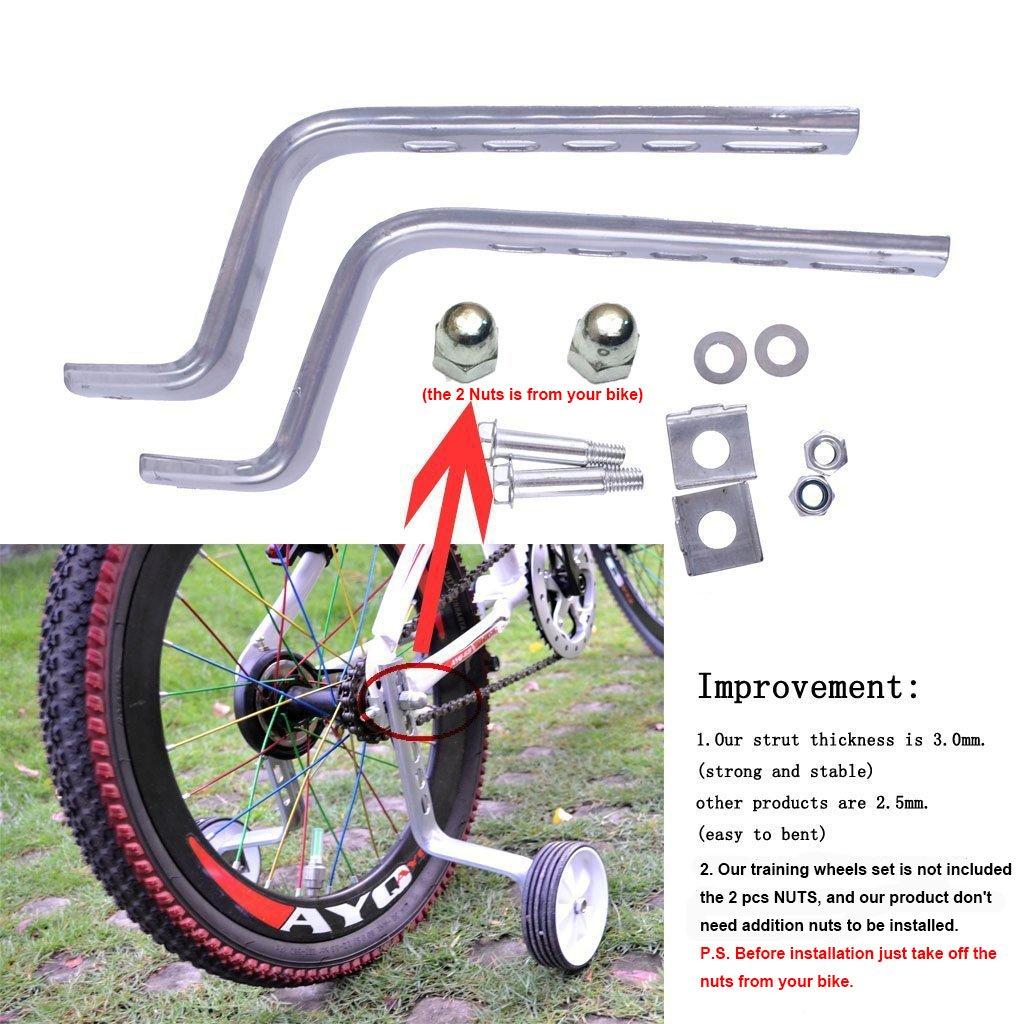 PengXiang ruedines para bicicleta infantil 12, 14, 16, 18 y 20 pulgadas, 1 par Seguridad ruedines, niño, Pink-B: Amazon.es: Juguetes y juegos