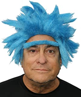 Rick Costume Wig Blue Spikey Adult Wig and Eyebrow Costume Cosplay Wig