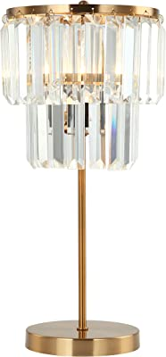 E-Like Original Crystal Table lamp with 1 Light,Satin Gold Finish,Long Strip Crystal (K9 Crystal) Shade,Classic,E12 60W Bulb,H16.9''W9'',Table lamp for Bedroom,Crystal Shade