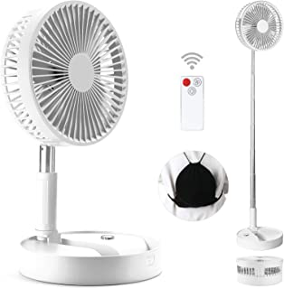 SDYXJ Portable Fan Rechargeable, Stand & table fan Folding Telescopic & Adjustable Height With 4 Speeds Quiet Remote Contr...
