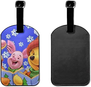Set of 2 PU Leather Luggage Tags Winnie The Pooh Horse Suitcase Labels Bag Adjustable Leather Strap Travel Accessories