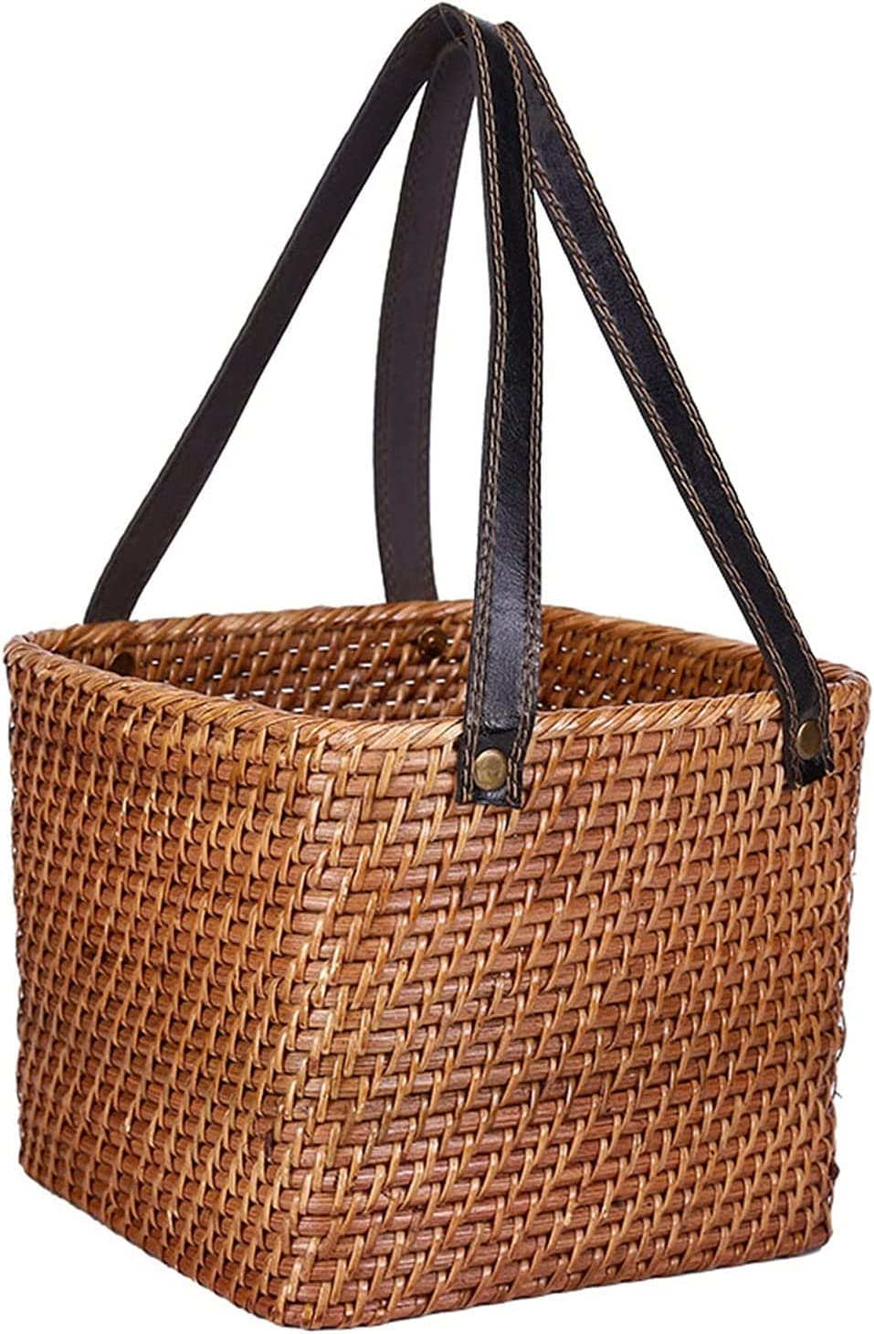 LWL Columbus Mall Storage Basket - Outstanding Wicker with Square Hand Leather Faux