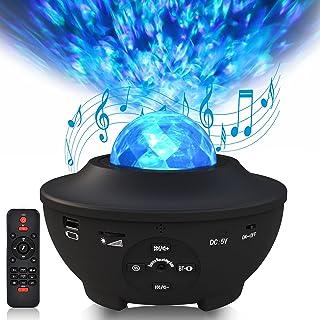 Sylvwin Projecteur Ciel Etoile,Veilleuse Etoile Lampe de Projecteur avec Haut-Parleur Musique,Telecommandees,Minuteur,Lumi...