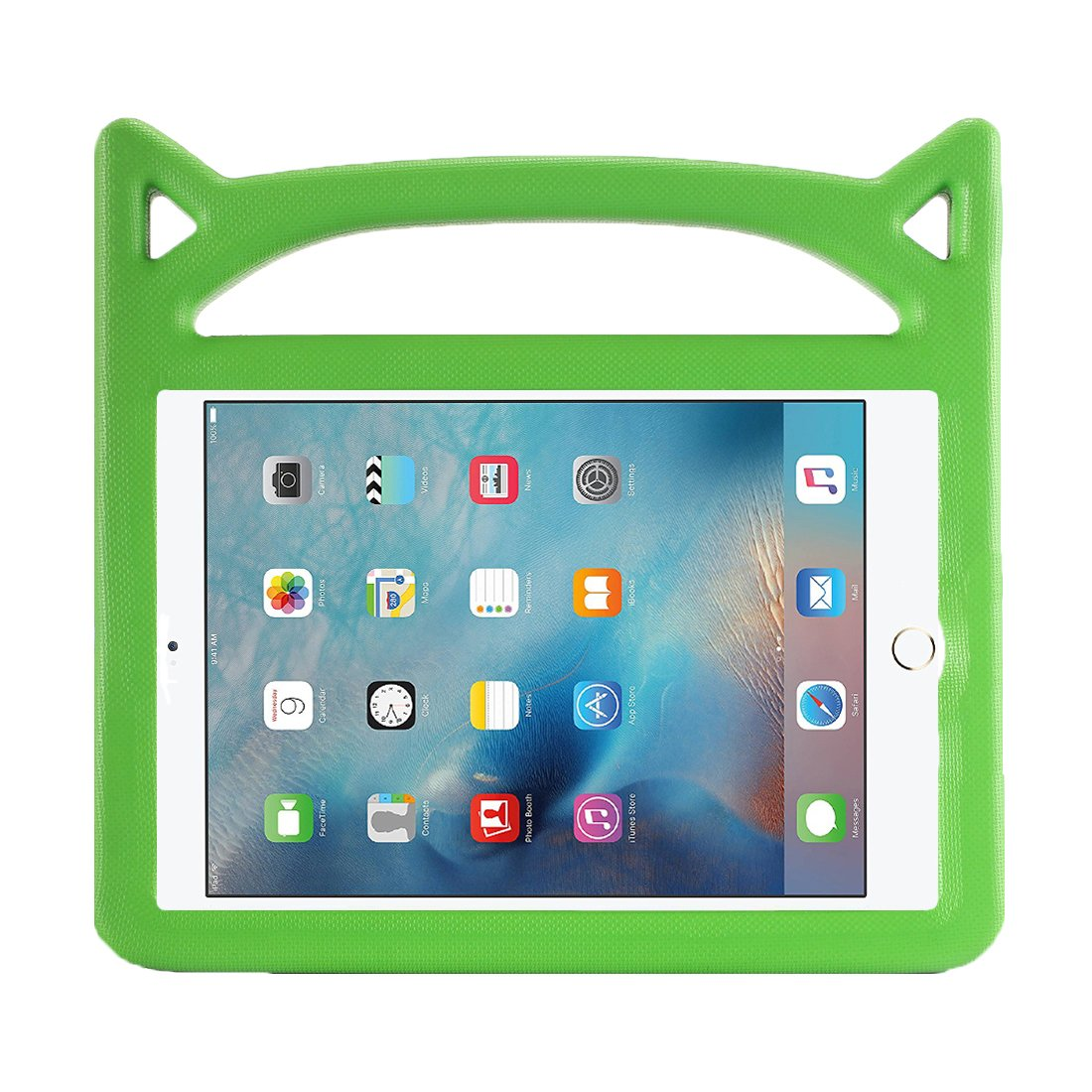 Apple iPad Case for Kids, New iPad 2017 2018 9.7 inch Case/iPad Pro/iPad Air 1 2 Cute Cartoon Case, APLPJYR Kids Friendly Light Weight Shock Proof Convertible Handle Stand Cover (Green)