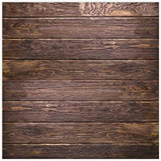 Allenjoy 8x8ft Fabric Brown Wood Backdrop Supplies for Newborn Photography Wrinkle Free Rustic Birthday Party Grunge Wooden Floor Baby Shower Still Life Product Background Studio Photo Booth Props