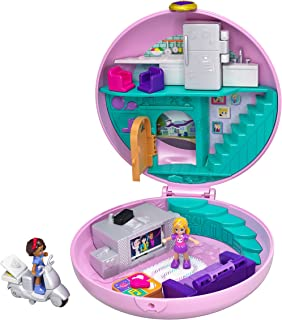 Polly Pocket Pocket World Donut Pajama Party Compact with Donut Shape, Polly's Living Room World, Surprise Reveals, Micro ...