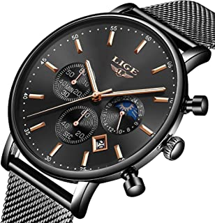 Watch for Man Woman,LIGE Men's Women's Watches Fashion Casual Sports Waterproof Analog Quartz Wristwatch Stainless Steel Black Classic and Rose Gold Blue Milanese Mesh Band