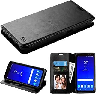 T-Mobile REVVL / Alcatel Walters / Alcatel A30 Fierce 2017 (MetroPCS) / Alcatel A30 Plus Case, PU Leather Fold stand Wallet pouch with ID Credit Card Slots Phone Case Cover (Black)