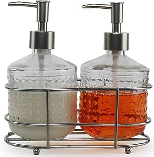 Circleware Vintage Soap Dispenser Bottle Pumps in Metal Caddy 3-Piece Set of Home Bathroom Accessories, Farmhouse Decor fo...