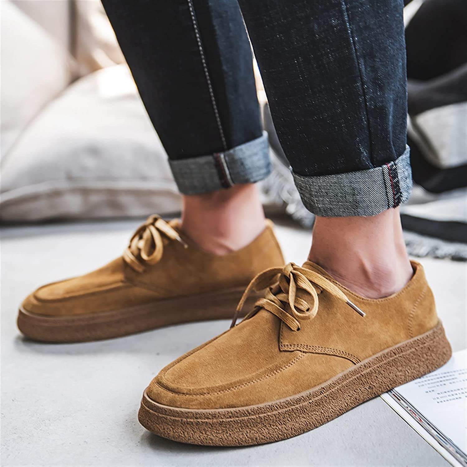 Battle Men Casual Loafer for Men Suede Leather Lace Up Apron Toe Thick Shoes Flat Slip Resistant Solid Color Casual
